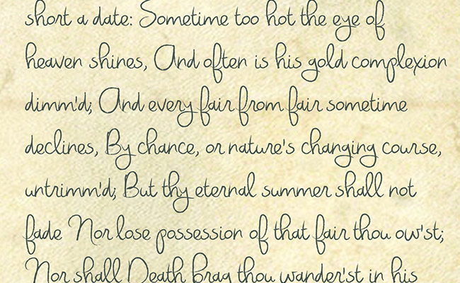 Romantic Script Printed Background Paper