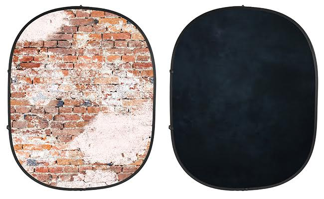 Weathered Brick/Black Collapsible Backdrop