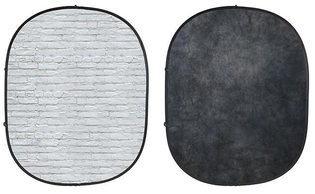 White Brick/Dark Gray Collapsible Backdrop
